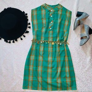 Vtg 60s Plaid Fall Colors Shift Mod Dress S M